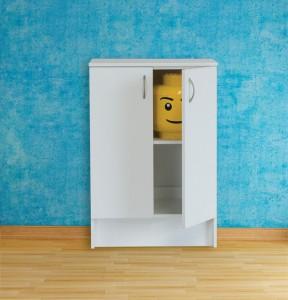 Blue empty room with  vertical hot water radiator - rendering